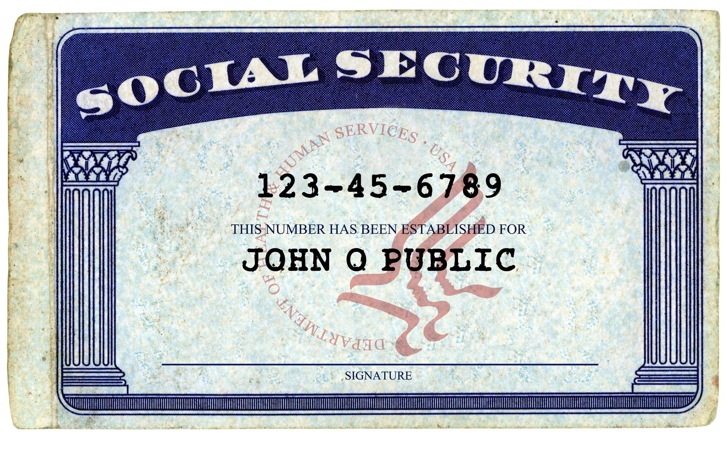 Social Security Card - John Q Public