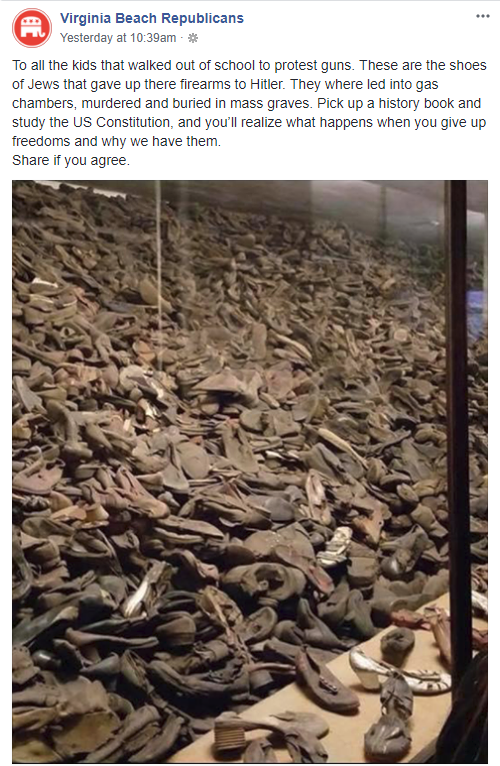 Virginia Beach Republicans Say Jews Gave-Up Firearms and Died In Holocaust For It